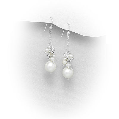 Natural Fresh Water Pearl Cascading Sterling Silver Earrings
