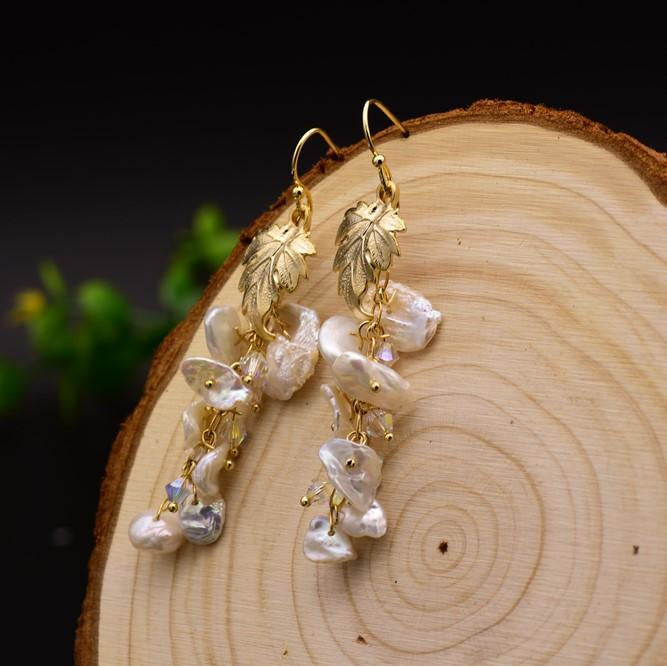Natural Fresh Water Baroque Pearl Long Tassel Drop Earrings