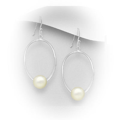 Natural Fresh Water Pearl Oval Sterling Silver Earrings