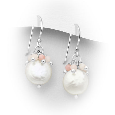 Natural Fresh Water Pearl Cascading Stone Earrings