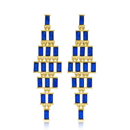 18K Gold Plated Sterling Silver Sapphire Baguette Set Dangle Earrings
