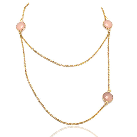 New York - Gold Vermeil and Pink Chalcedony Contemporary Necklace Pink Chalcedony / Gold - Melange Chic