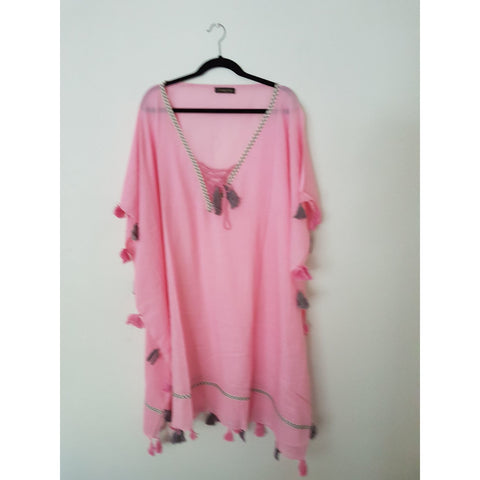 Pink Linen Cotton Kaftan