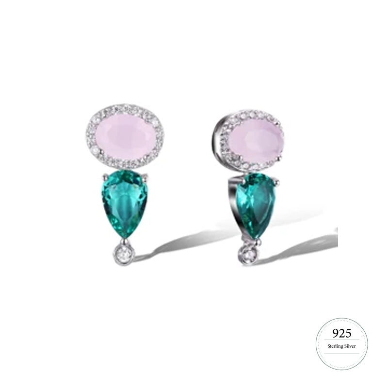 Pink and Emerald Green Cubic Zarcon Stud Earrings