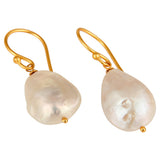 Natural white Pearl Sterling silver Wire Wrapped Dangle Earrings With Vermeil Finish