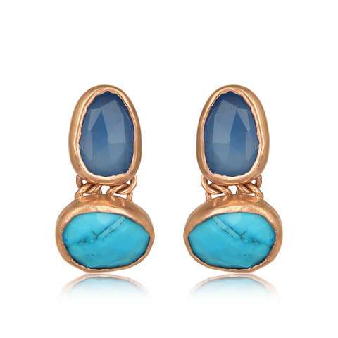 Blue Multi Stone Earring in Rose Gold on Silver