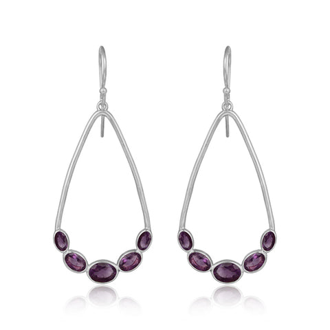Amethyst Gemstone Teardrop Earrings