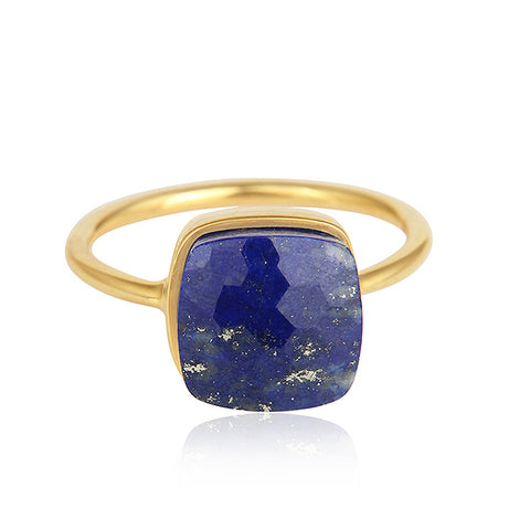 Handmade 18k Yellow Gold Plated Silver Lapis Ring