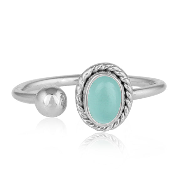 Dual Ornate Silver Ring with Aqua Chalcedony