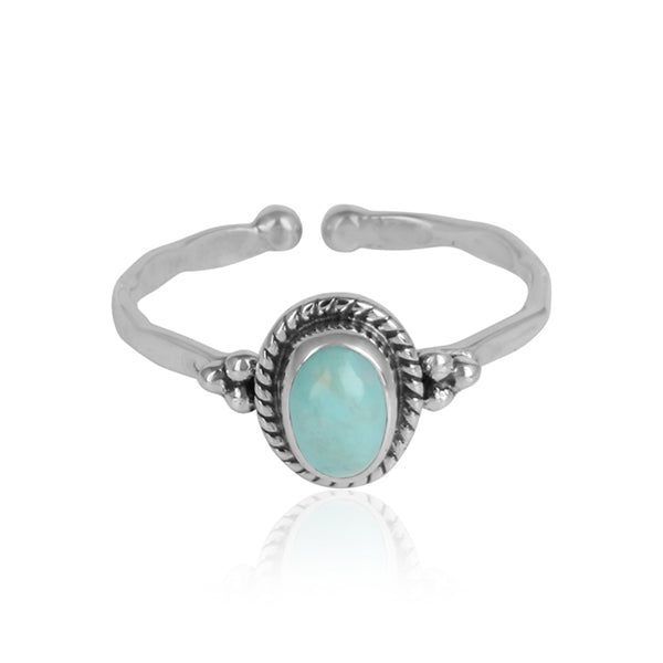 Oval Arizona Turquoise Ornate Oxidized Silver Ring