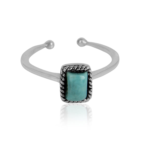 Emerald-Cut Arizona Turquoise Ornate Oxidized Silver Ring