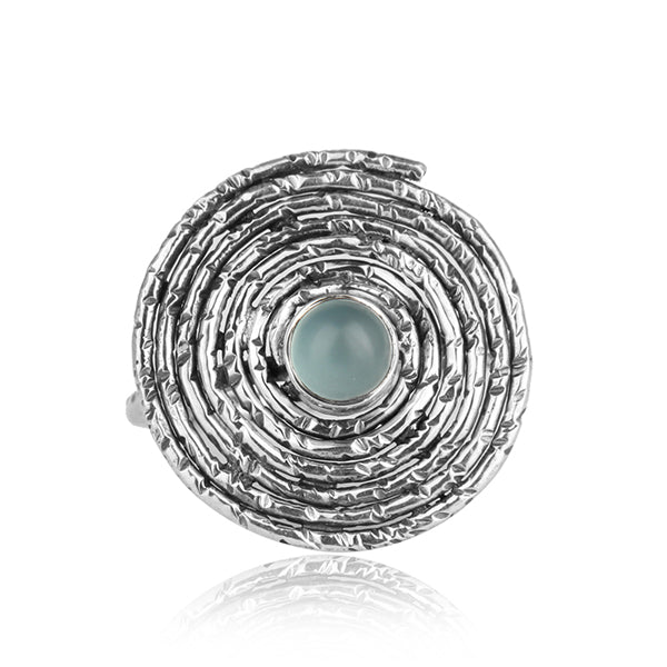 Spiral Oxidized Silver Ring with Blue Chalcedony