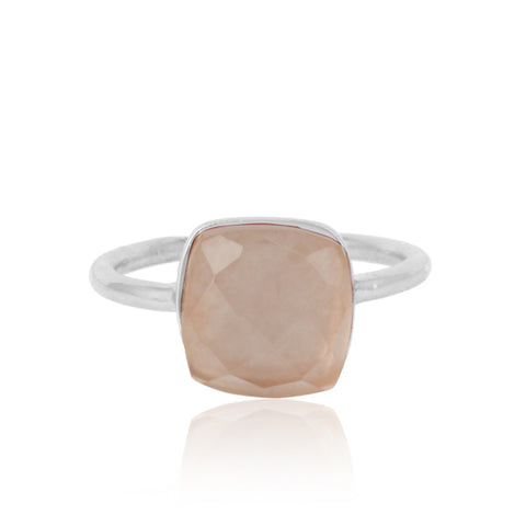 Handcrafted Large Square Rose Quartz Stone Ring