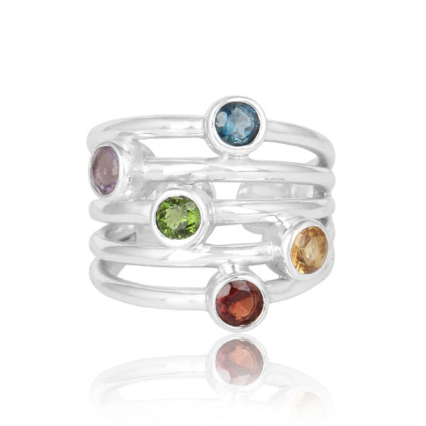 Silver Stacked Ring with Multi Stone