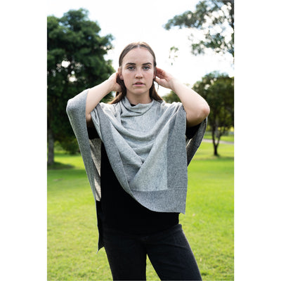 Cashmere Poncho - Light Grey with Dark Grey Border