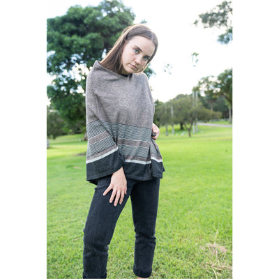 Cashmere Poncho - Brown with Black Stripe Asymmetrical Border
