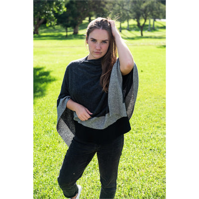 Cashmere Poncho - Charcoal with Grey Border