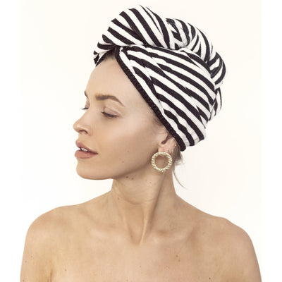 Louvelle riva Hair Towel Wrap in Monochrome Stripe