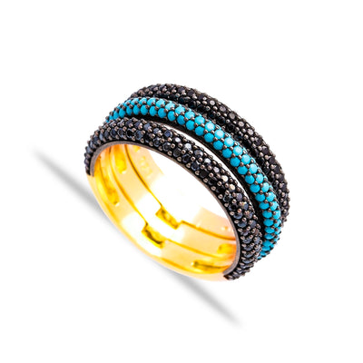 Three Stone Lapis Pave Set Ring in Gold
