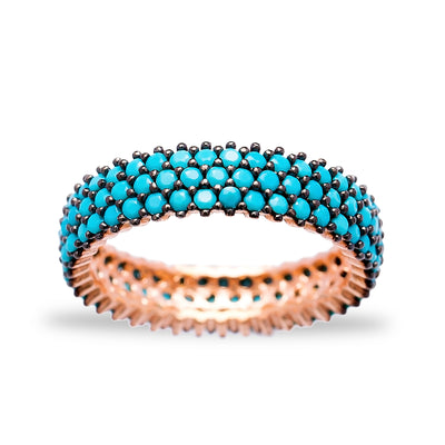 Lapis Pave Set Ring in Rose Gold