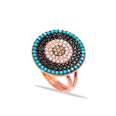 Large Solitaire Multistone Lapis Pave Set Ring in Rose Gold