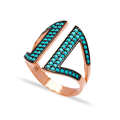 Wide Lapis Pave Set Ring in Rose Gold