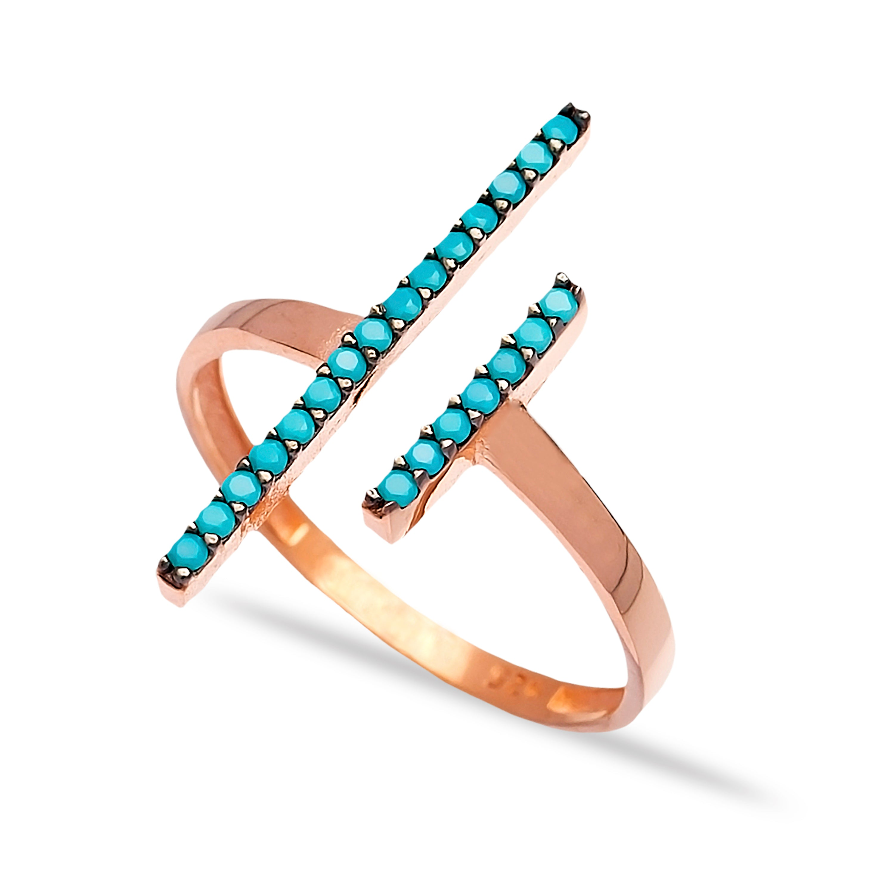 Asymmetrical Lines Lapis Pave Set Ring in Rose Gold