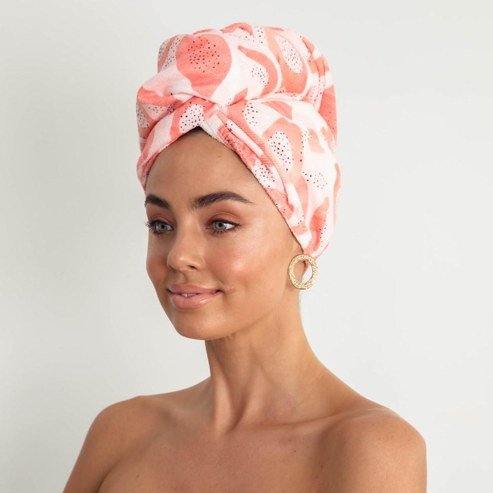 Louvelle riva Hair Towel Wrap in Peach Papaya