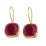 Azalea - Gold Vermeil and Rose Tourmaline Earrings  - Melange Chic - 2