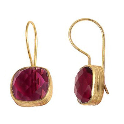 Azalea - Gold Vermeil and Rose Tourmaline Earrings  - Melange Chic - 1
