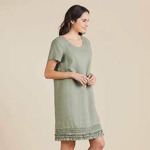 Ruffled Hem Dress - Khaki