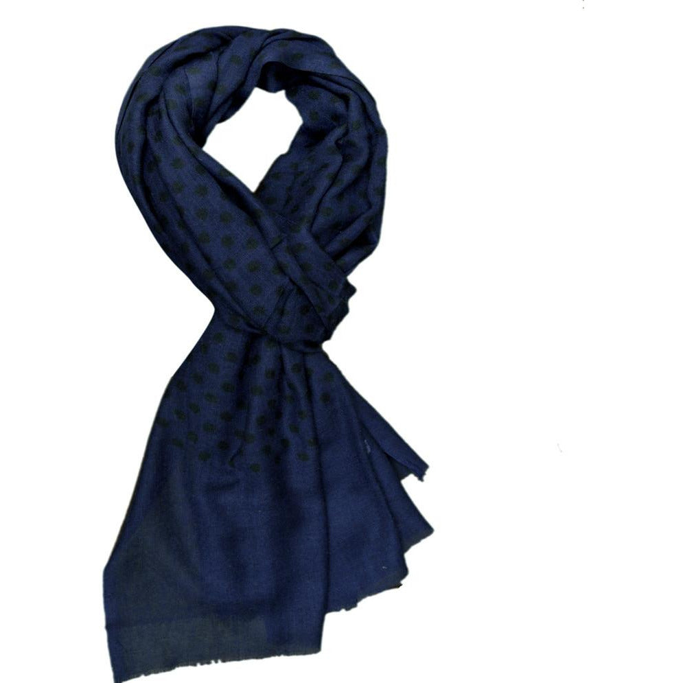 Navy Polka Wool Lightweight Scarf