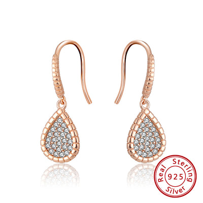 Sterling Silver 925 Rose Gold Plated Pave Set Cubic Zirconia Pear Drop Earrings