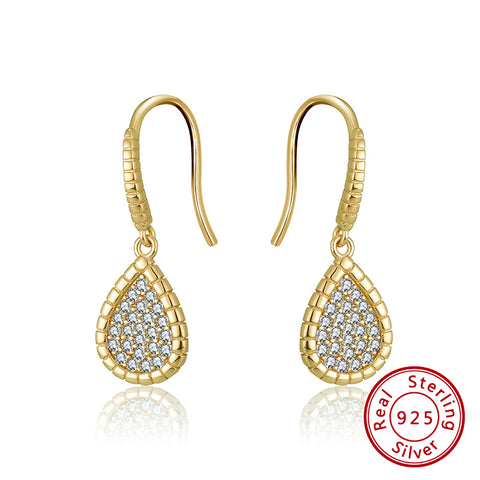 Sterling Silver 925 Gold Plated Pave Set Cubic Zirconia Pear Drop Earrings