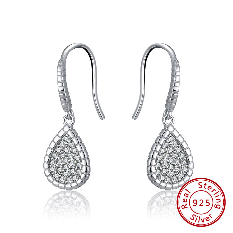 Sterling Silver 925 Platinum Plated Pave Set Cubic Zirconia Pear Drop Earrings