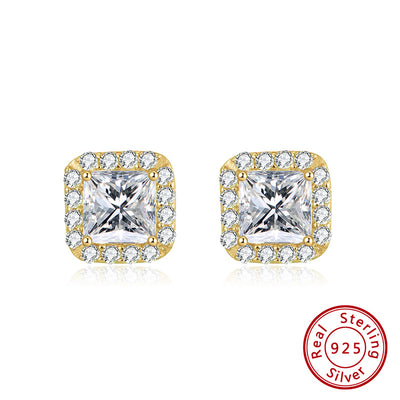 Sterling Silver Gold Plated Cubic Zirconia Princess Cut Halo Stud Earrings
