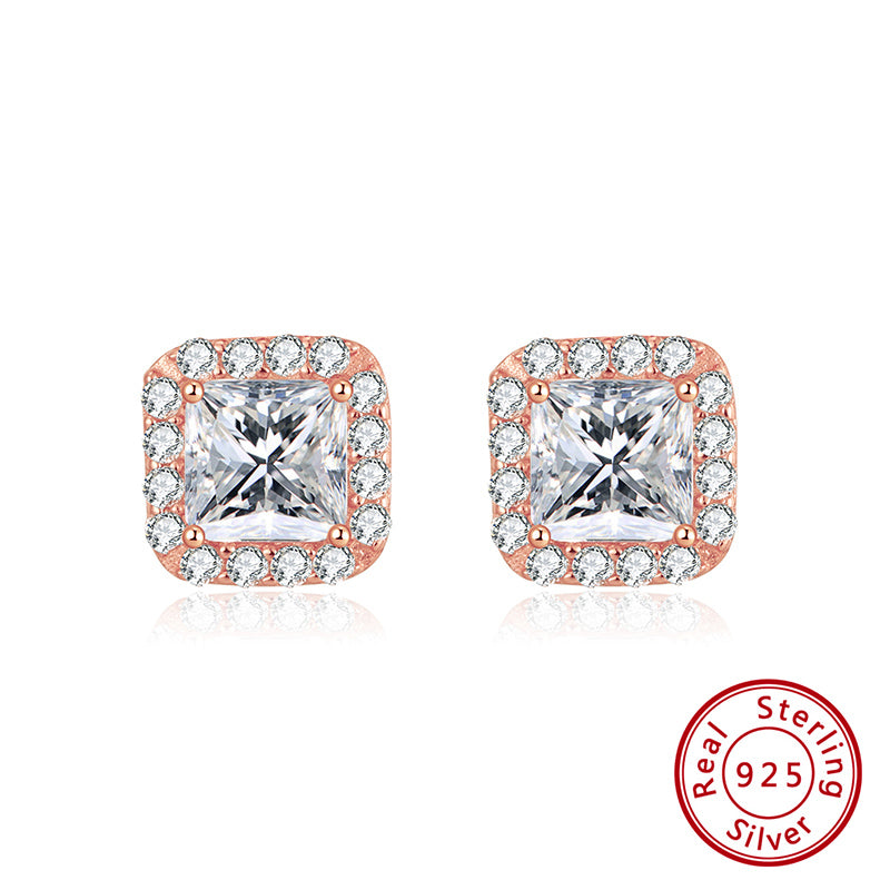 Sterling Silver Rose Gold Plated Cubic Zirconia Princess Cut Halo Stud Earrings