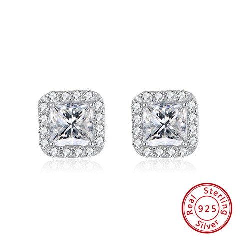 Sterling Silver Platinum Plated Cubic Zirconia Princess Cut Halo Stud Earrings