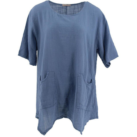 Wednesday Lulu - Linen Drape Pocket Top