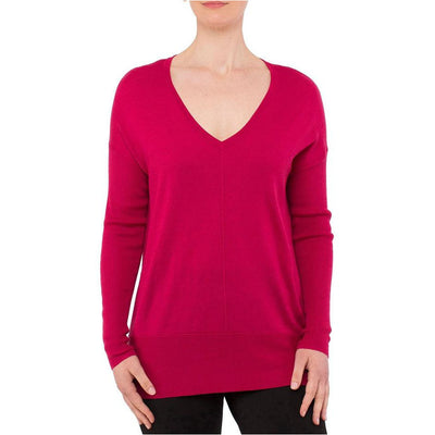 PingPong - V Neck Ribbed Sleeve Pullover Sangria
