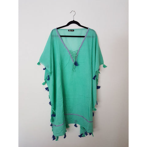 Sea Green Linen Cotton Kaftan