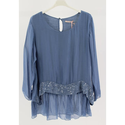 Wednesday Lulu - Silk Overlay Ruffle Top