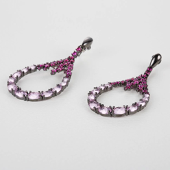Ruby Cubic Zarconia Earrings on Silver