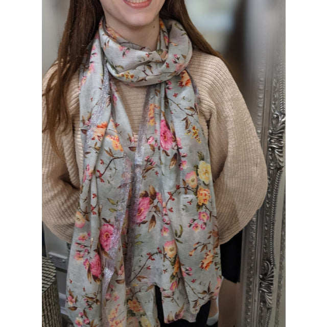 A Small Floral Print Lurex Scarf