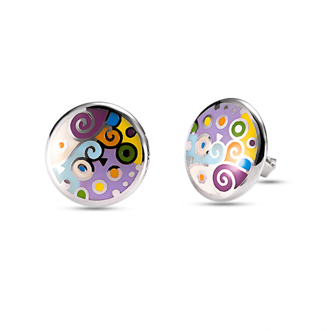Multi Enamel Mauve Studs Earrings