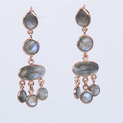 18K  Rose Gold/Rhodium Plated Sterling Silver Labradorite Dangle Earrings