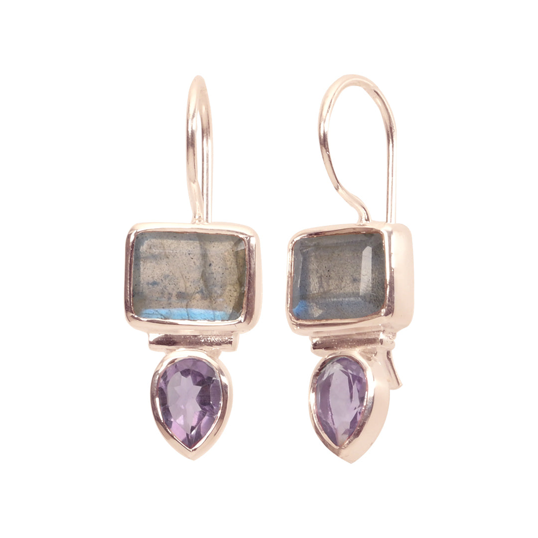 18K  Rose Gold/Rhodium Plated Sterling Silver Labradorite Amethyst Small Dangle Earrings