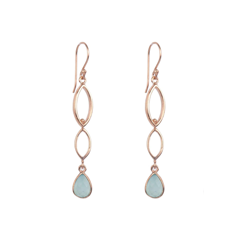 18K Rose Gold/Rhodium Plated Sterling Silver Delicate Long Dangle Earrings
