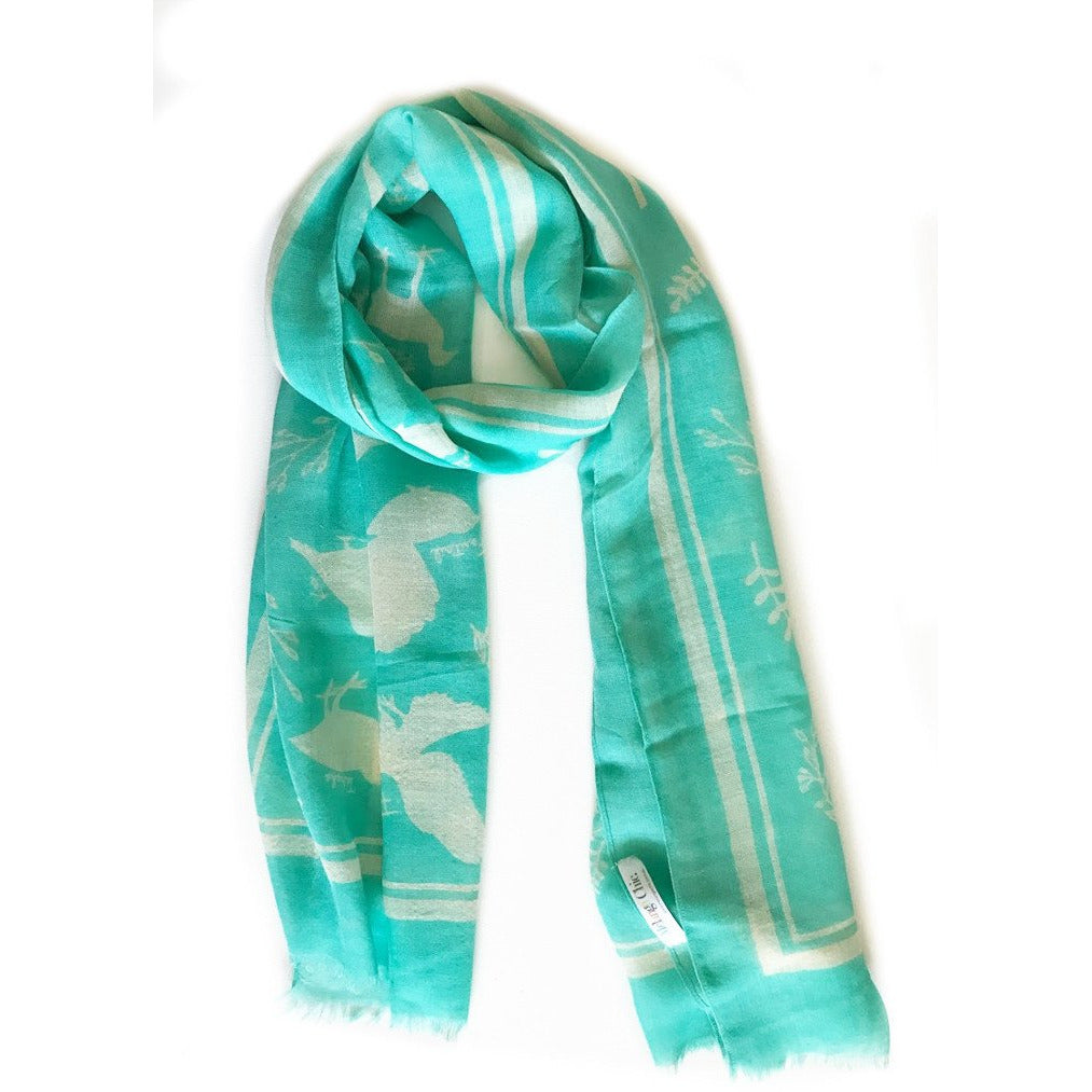 Teal Native Bird Wool Lightweight Scarf