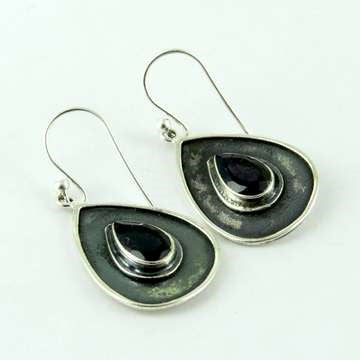 Tear Drop Silver Danglers Lolite - Melange Chic - 5